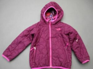 The North Face Size 4T Girl Purple Full Zip Insulated Hooded Quilted Jacket T493