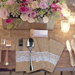 10 Style Burlap Lace Jute Wedding Tableware Pouch Cutlery Holder Bag Party DecKB