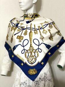 Authentic HERMES Scarf 100% Silk Key pattern Bordeaux Navy blue Gold Ivory #2202