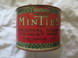 SWEETACRES MINTIES ORIGINAL DIGESTIVE NOUGAT MINT TIN SYDNEY AUSTRALIA c1920s