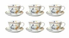 New 6xCat Kittens Cups 90cc w Saucers Set Fine Bone China Birthday Xmas Gift
