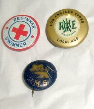 Vintage Pinbacks - J.M.S. - Red Cross Beginner Swimmer - Los Angeles Cooks