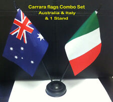 small desk flag set Australia & Italy on a stick with stand .