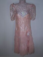 Women's Vtg Iridescent Drop Waist Party Dress Peach Lace Overlay Sz 12 Prom 90's