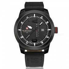 Gents Naviforce Luxury Black Face Date Unusual Day Genuine Leather Strap Watch