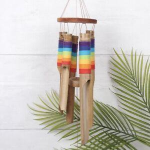 RAINBOW CHAKRA BAMBOO WINDCHIME round wooden chimes reiki FAIR TRADE BALI NEW!