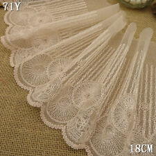 1 Yard Pink Floral Crochet Embroidered Lace Trim Tulle For DIY Craft Wide 7 1/4""