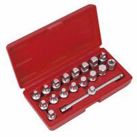 "Sealey 19pc 3/8"" Drive Oil Drain Sump Plug Key Set Engine Gearbox Back Axle"