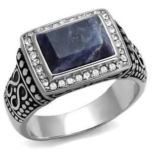 Men's Sodalite Capri Blue Semi-Precious Stone Stainless Steel Ring 8-13 TK3003