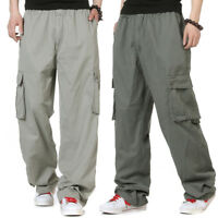 Sz S-6XL Cargo Mens Trousers Cotton Work Casual Overalls Baggy Loose Long Pants