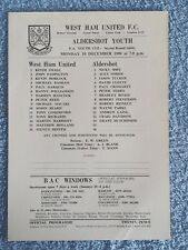 1990 - WEST HAM UTD v ALDERSHOT PROGRAMME - FA YOUTH CUP 2ND ROUND REPLAY