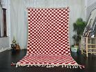 "Moroccan Handmade Beni Ourain Rug 5'7""x9'2"" Checkered White Red Berber Carpet"