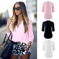 Women's Ladies Summer Loose Tops Long Sleeve Shirt Casual Blouse T-shirt Fashion