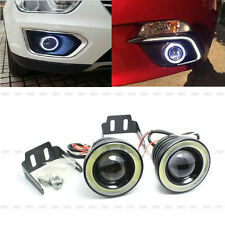 "2 x 2.5"" 30W White Car LED COB Fog Light Lamp Projector Lens Bulb DRL Angel Eyes"