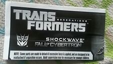 Transformers Fall of Cybertron SHOCKWAVE INSTRUCTION BOOKLET ONLY