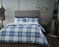 Cotton Rich Check Duvet Cover Set in Blue & White Double Bed Size