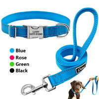 Reflective Personalized Dog Collar Leash Nylon Engraved Buckle Custom Name Tags