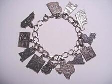 Vintage USA 12 STATES Sterling Silver TRAVEL Charm Bracelet ESTATE Jewelry RARE