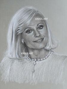 Ritratto Raffaella Carrà disegno originale a matita