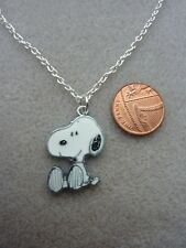 "Cute Snoopy Enamel Charm Pendant Necklace 18"" Chain Birthday Gift Present # 291"