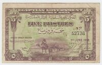 Egypt 5 Piastres 1918 Banknote P162 F+ Camel Sphinxes Bill Used In Palestine