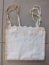 + Chemise de nuit brodée ancienne à bretelle N°6 - bords festonnés 1900 +