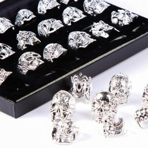 Wholesale 20pcs Skull Silver Biker Punk Party Gifts Fashion Jewelry Men's Rings