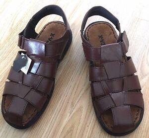 Men Brown Leather Sandal Mule Fisherman Gladiator Trekking Roma Hiking Shoe Size