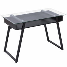 Black Wood Office Glass Top Computer Laptop Desk Writing Study Workstation Table