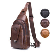 Mens Vintage Sling Bags Genuine Leather Chest Pack Outdoor Cycle Crossbody Bag