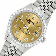 Rolex Datejust 36MM Steel Watch w/ 3.35CT Diamond Bezel/Champagne Arabic Dial