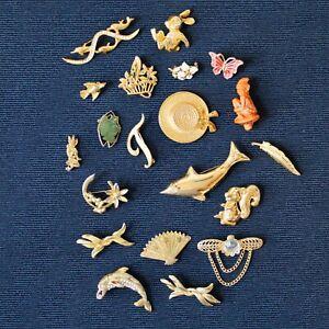 Vintage Brooch Job Lot Classic Gold Tone including Rabbit Dolphin Squirrel Piski