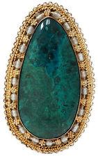 Sterling Silver Gold Vermeil, Eilat Stone & Bead Etruscan Brooch Pin Pendant