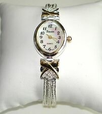 SIMPLE ~ AUSTRIAN CRYSTAL GOLD & SILVER TONE LADIES BRACELET WATCH NEW