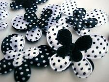 80 Black/White Satin Polka Dot/Felt Butterfly Applique/Big+Small Mix/trim H220