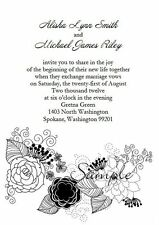 100 Personalized Custom Black and White Floral Vintage Wedding Invitations Set