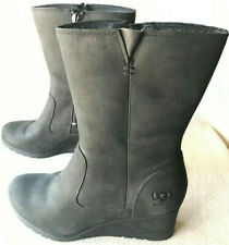 UGG Australia Joely Wedge 1012528 Black Leather Zip Sheep Lined Boots Women's 8