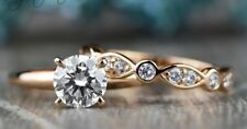 Band Ring Set 14k Rose Gold Gp 6.5 mm Round Solitaire Moissanite Bridal Wedding