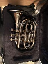 Cecilio Mendini Silver Travel Pocket Trumpet w/ 2 Mouthpieces & Practice Mute