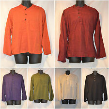 Plain Long Sleeved Grandad Shirt Hippy Festival Nepal Casual Loose Fit S-3XL