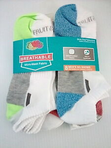 Fruit of the Loom Men'sBreathable Mesh No Show Sock, Large, 8 pack