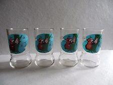 4 Retro Vintage Swanky Swig Sue Bee Honey Bear Drink Juice Glass Tumblers