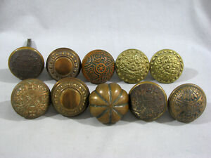 Group of 10 Antique BRASS DOOR KNOBS - 2 ARE BRASS & IRON