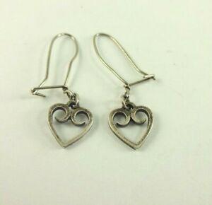 Sterling Silver James Avery Heart Scroll Earring