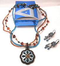 BEAUTIFUL AVON TEAL & TOPAZ COLOR MEDALLION GIFTSET NECKLACE & PIECED EARRINGSS