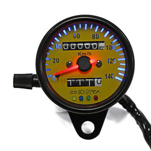 Dual Odometer KMH Speedometer Gauge Meter LED Backlight for Universal Motorcycle