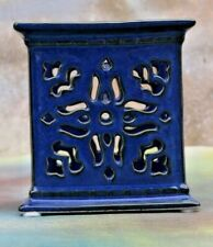 "PARTY LITE Cut out Ceramic Candle Holder, Cobalt Blue 3"" square FREE SHIPPING!"