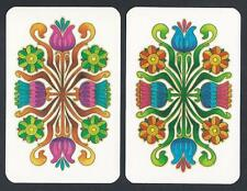 #915.560 vintage swap card -NEAR MINT pair- Flower pattern in pink & blue