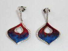 Ladies Art Nouveau Style Red & Blue Enamel Sterling 925 Silver Sapphire Earrings