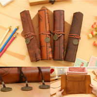 Hot Vintage Retro Treasure Map Luxury Roll Leather Make Up Cosmetic Pencil Case